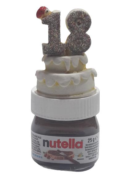 Bomboniera 18 anni mini barattolino nutella con etichetta personalizzata e tortina in resina 18 anni