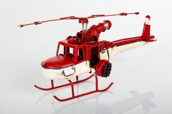 Elicottero in metallo colore bianco e rosso 9x19 cm