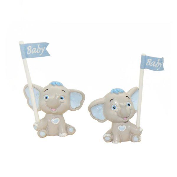 Bomboniera nascita e battesimo elefantino Willy celeste da appoggio con bandierina