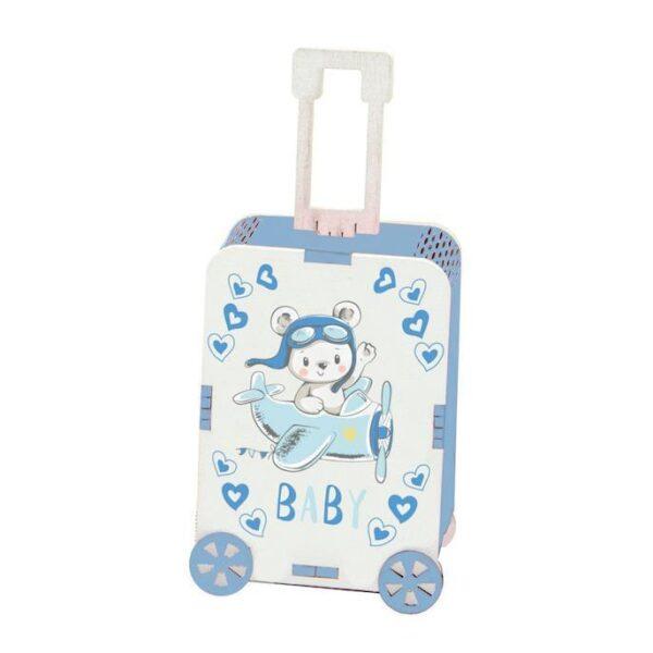 Bomboniera nascita trolley portaconfetti in legno azzurro