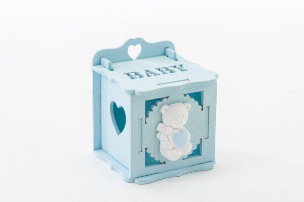 Bomboniera nascita scatoletta in legno portaconfetti azzurra con orsetto