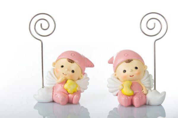 Bomboniera nascita battesimo segnaposto angelo rosa con stella e luna