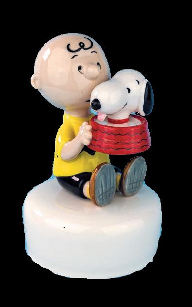 Bomboniera tema Snoopy in porcellana carillon charlie brown e snoopy