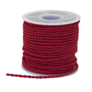 cordoncino 2 capi da 3 mm 25 metri colori bianco avorio rosa celeste e rosso - Rosso