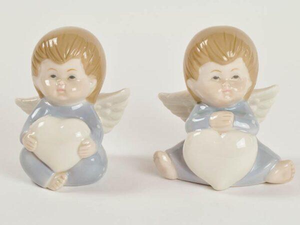 Bomboniera tema Angelo in porcellana Celeste con cuore.
