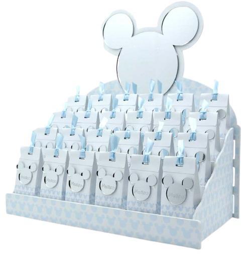 Bomboniera personalizzabile Espositore con 24 Scatoline portaconfetti magneti sagoma topolino