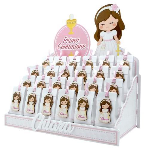 Bomboniera comunione personalizzabile Espositore con 24 Scatoline portaconfetti magneti bimba comunione