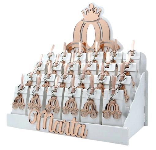 Bomboniera personalizzabile Espositore con 24 Scatoline portaconfetti magneti carrozza di cenerentola