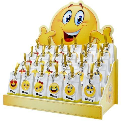 bomboniera personalizzabile Espositore con 24 Scatoline portaconfetti magneti smile