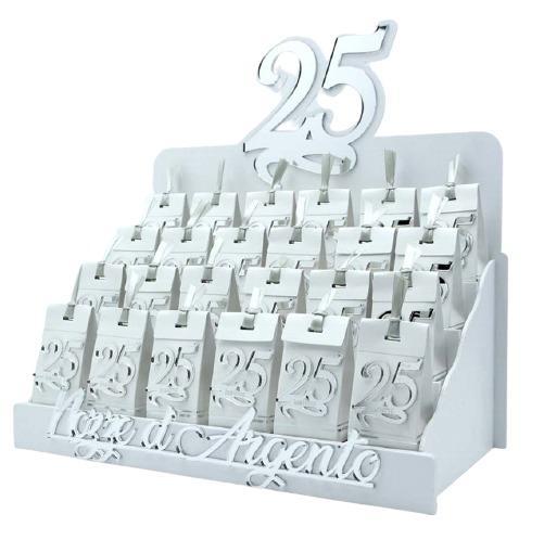 Bomboniera personalizzabile Espositore con 24 Scatoline portaconfetti magneti 25esimo