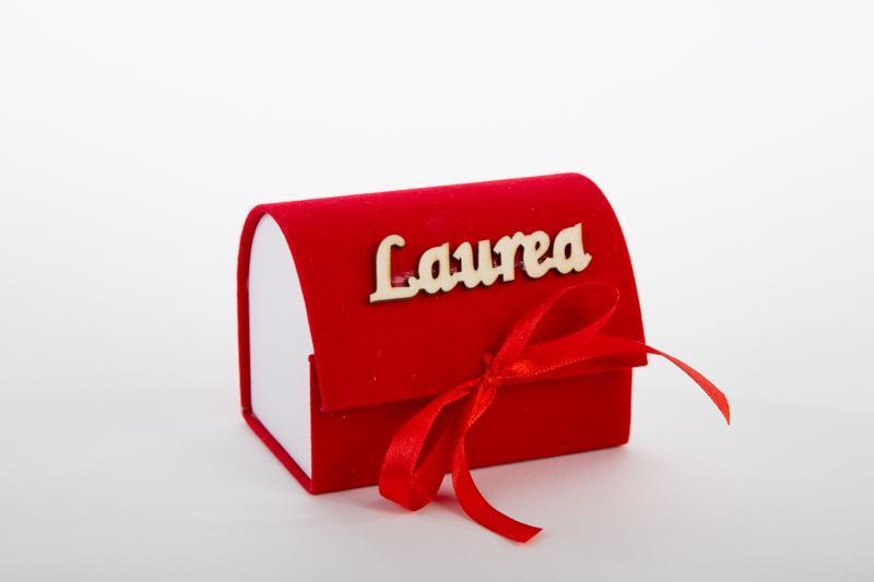 bomboniera laurea bauletto portaconfetti in velluto rosso