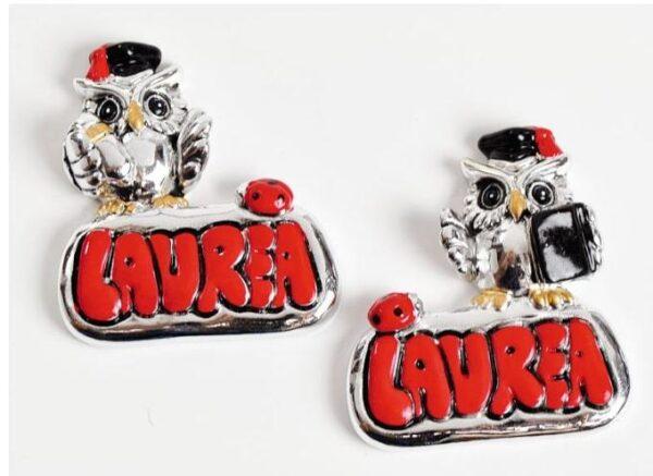 Bomboniera Laurea Gufo magnete in resina argentata smaltata
