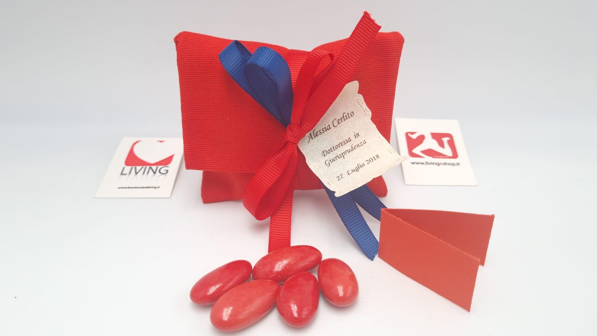 Sacchetto Laurea busta lettere grezzo rosso