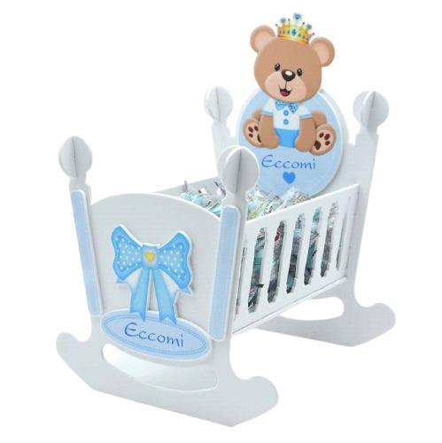 culletta per bambino con orsetto azzurra con scritta personalizzabile