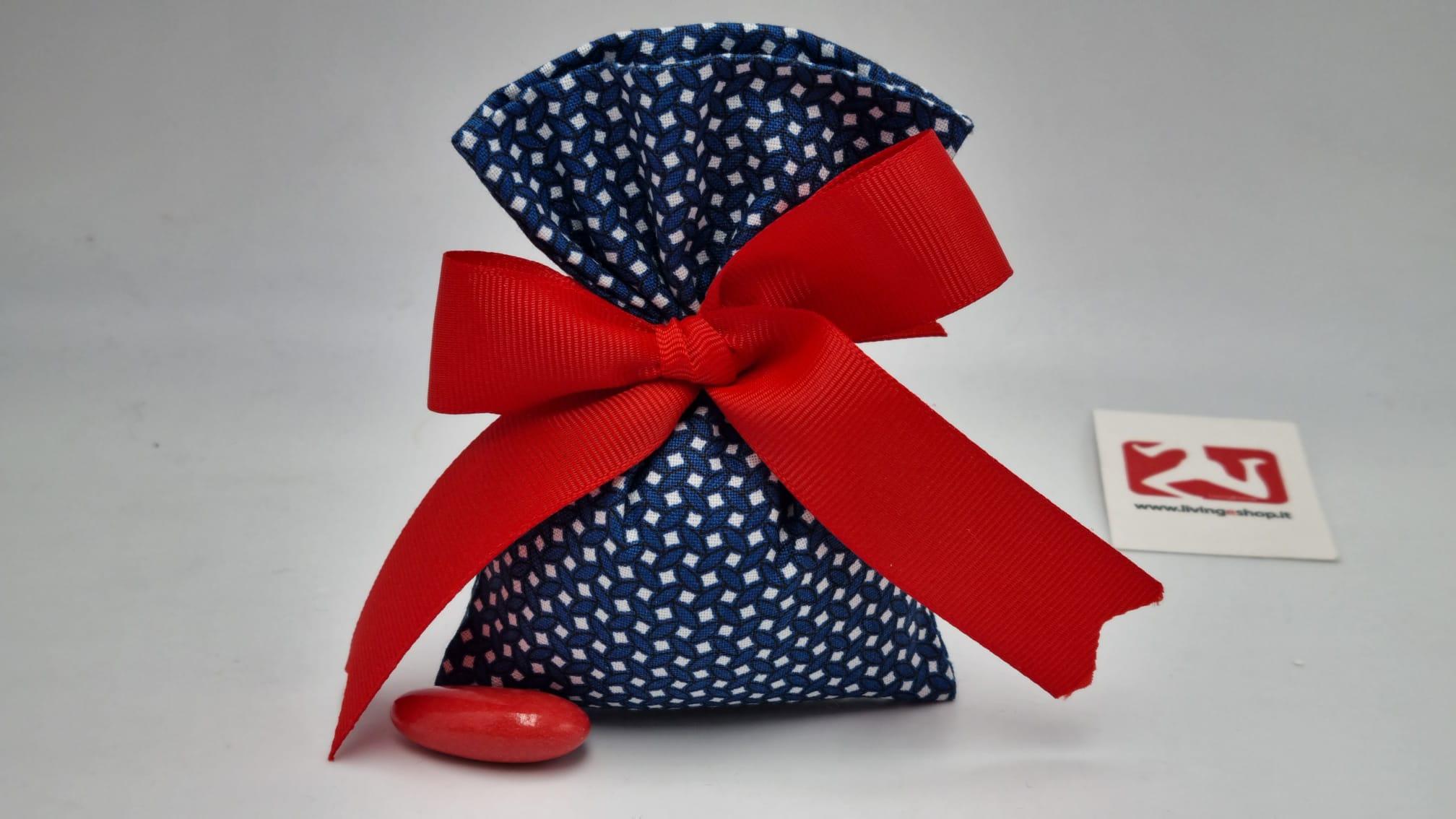 sacchetto portaconfetti in tessuto blu