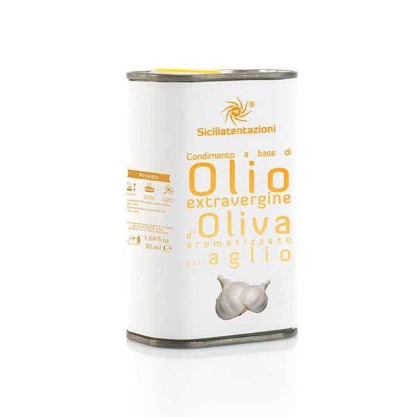 bomboniera gastronomica olio aromatizzato all'aglio in latta 250 ml