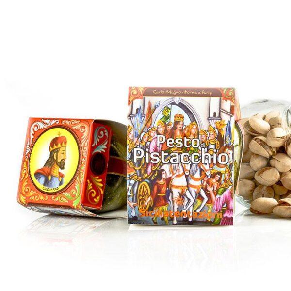 """bomboniera gastronomica pesto di pistacchio """" opera dei Pupi"""" 90 gr"""