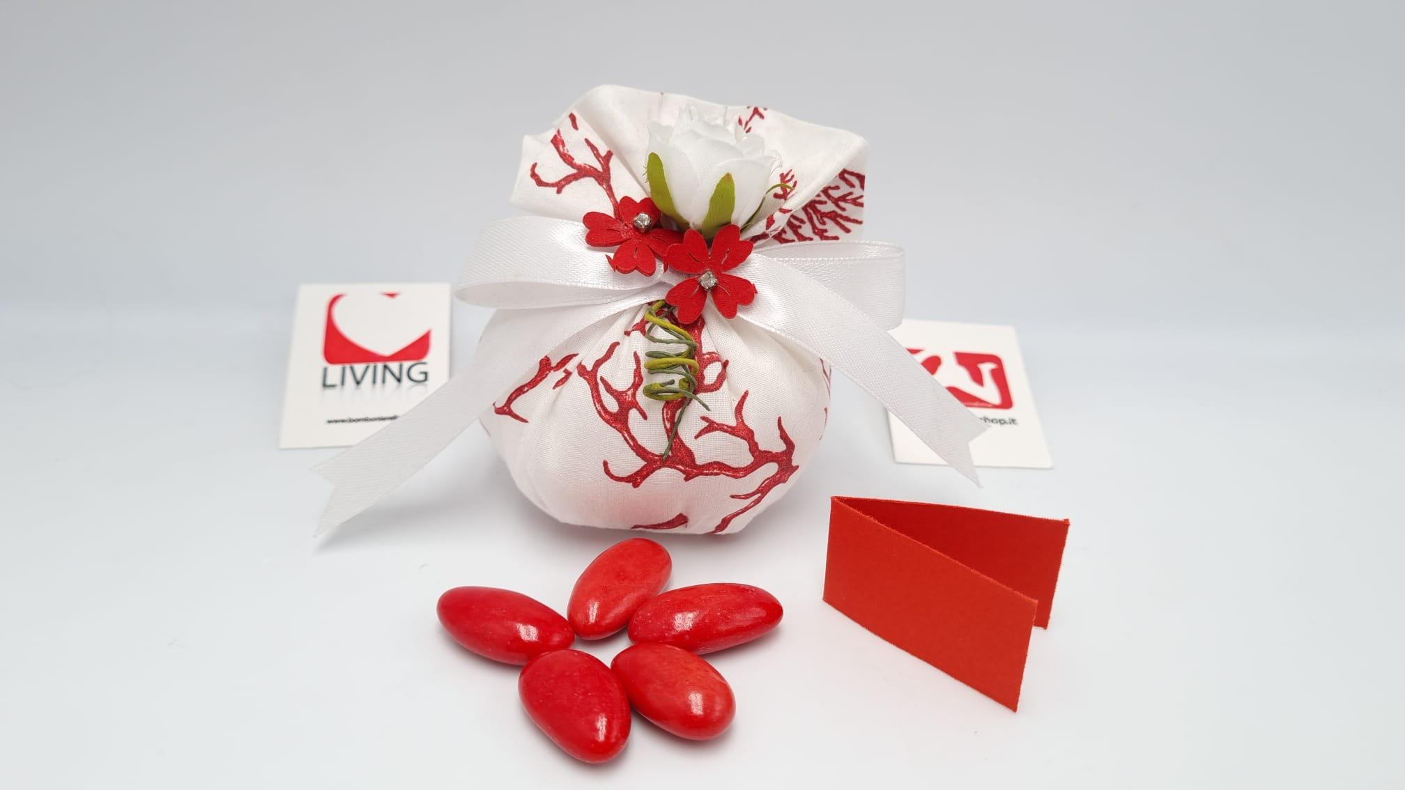 Sacchetto Laurea in cotone con stampa corallo rossa