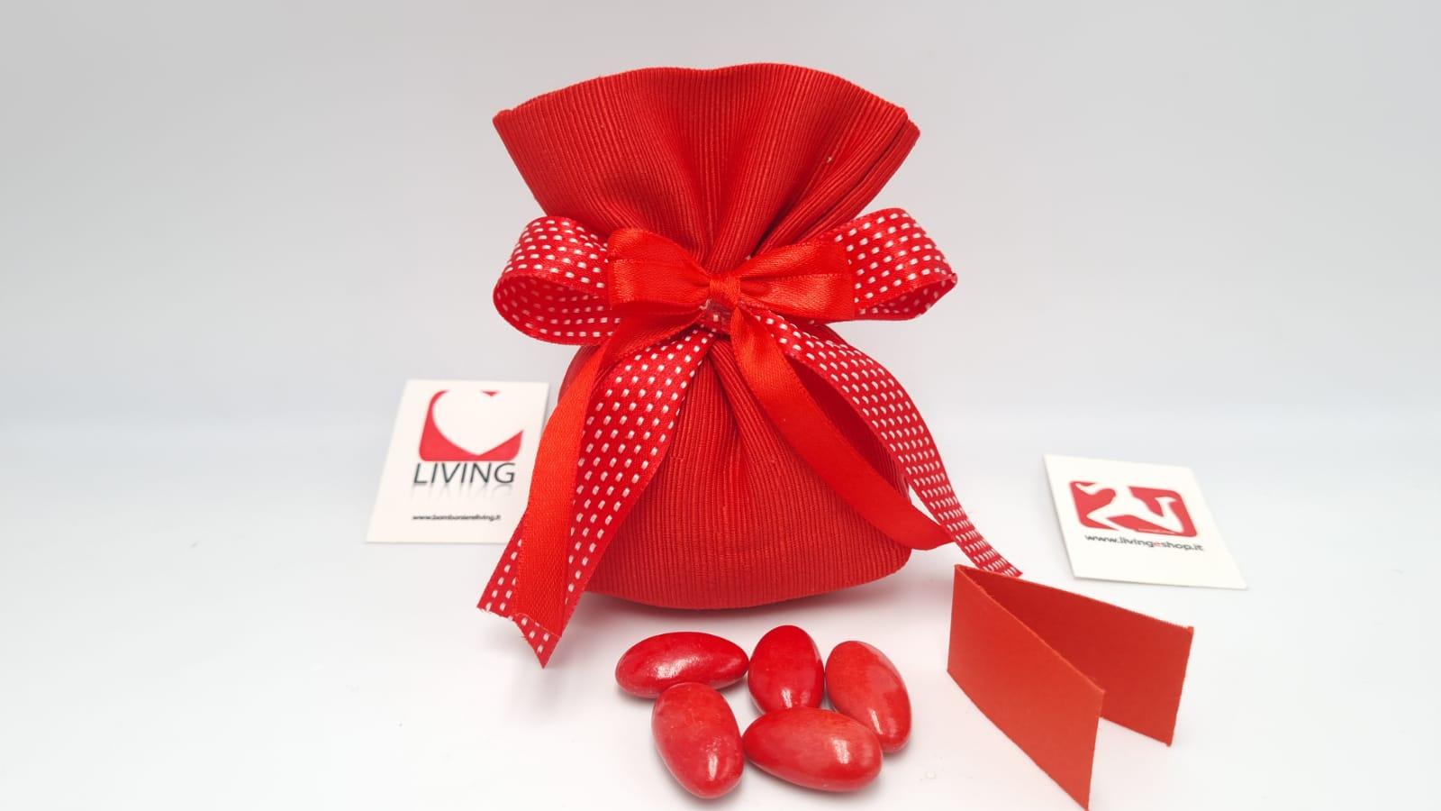 Sacchetto Laurea portaconfetti in canneté rosso