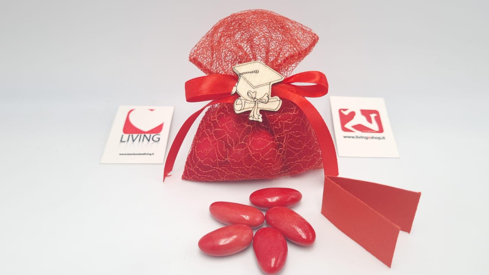 Sacchetto Laurea tessuto retato rosso