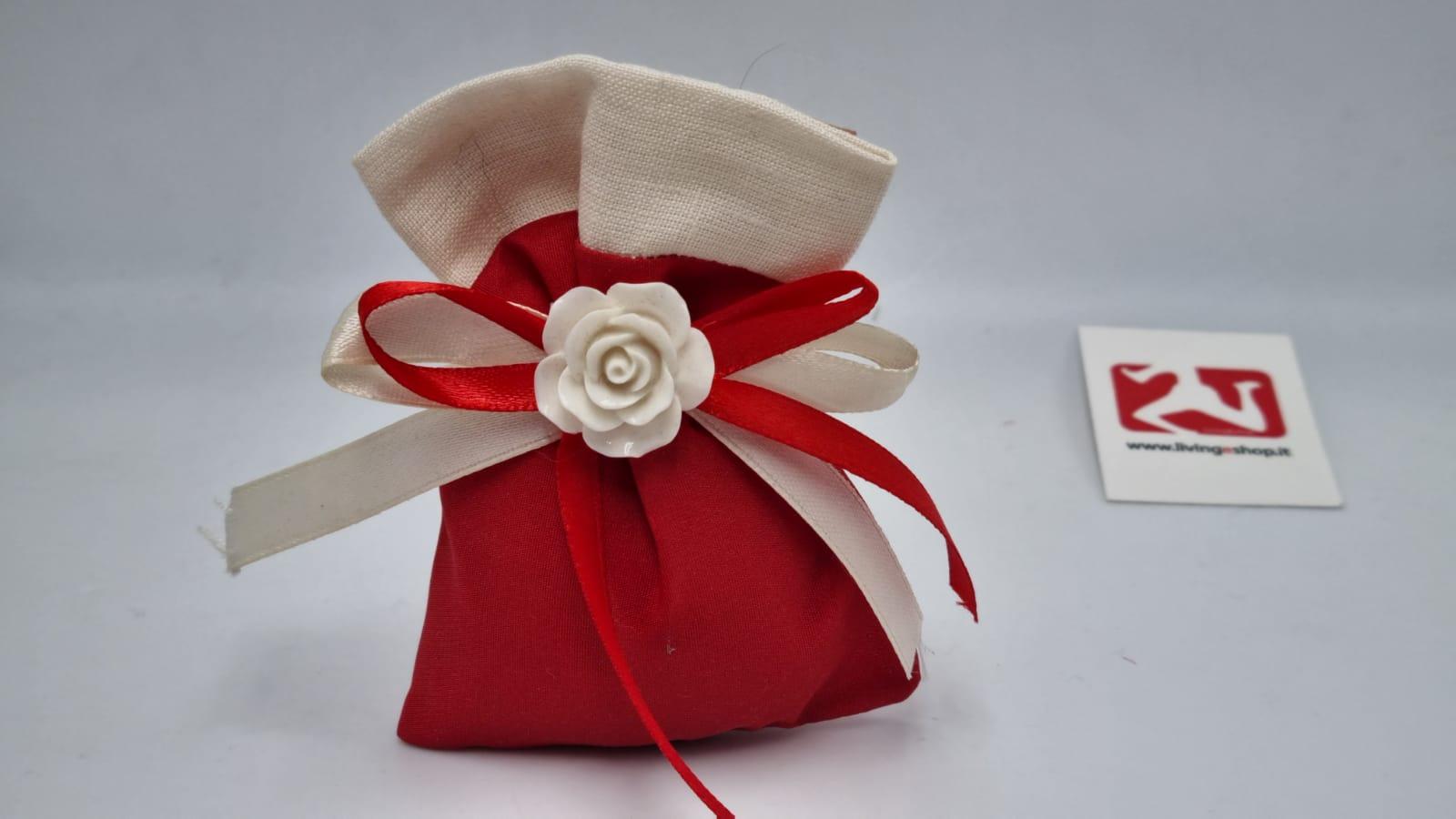 Sacchetto Laurea portaconfetti in doppio tessuto rosso e lino