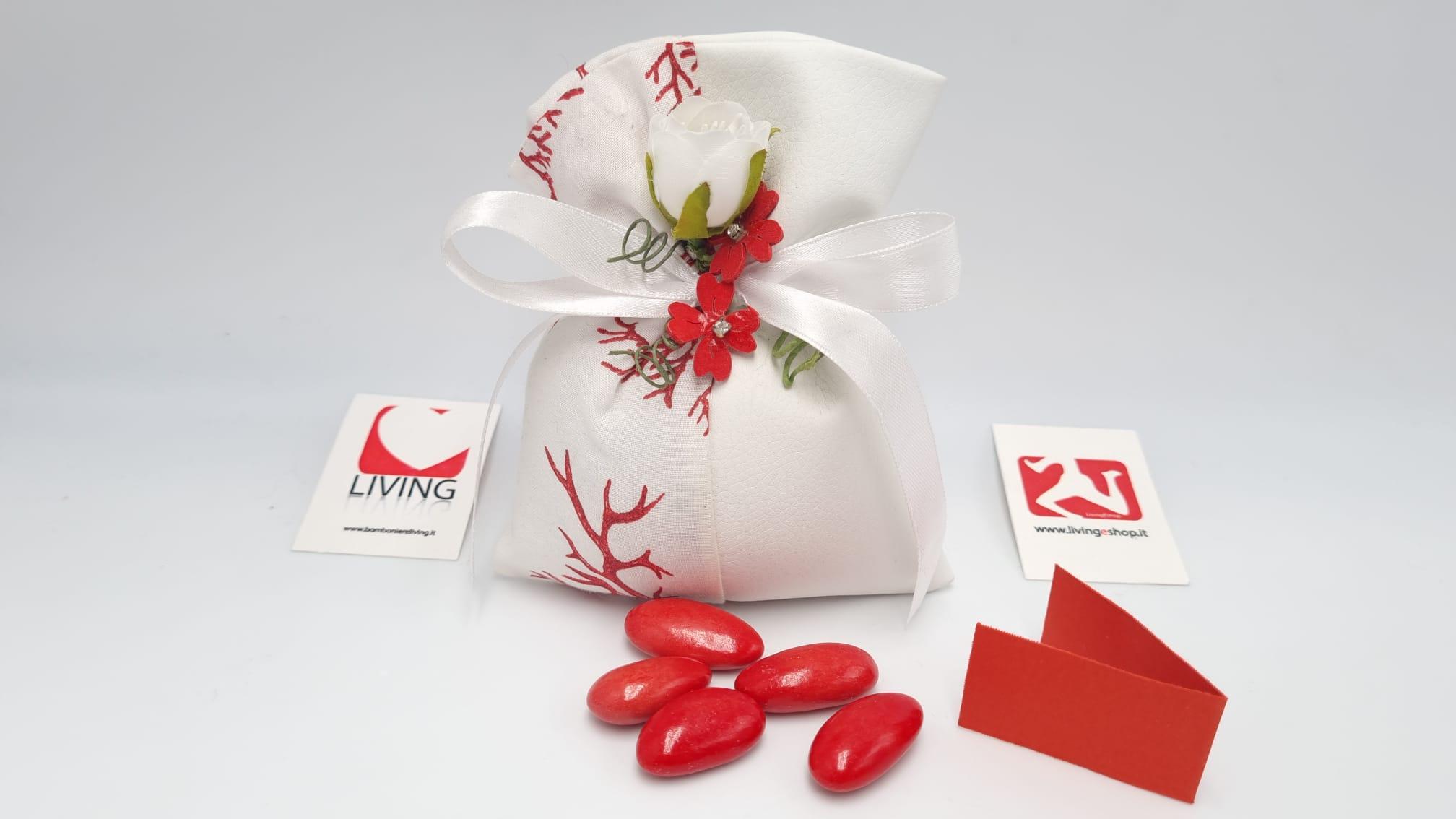 Sacchetto Laurea ecopelle bianca e corallo rosso