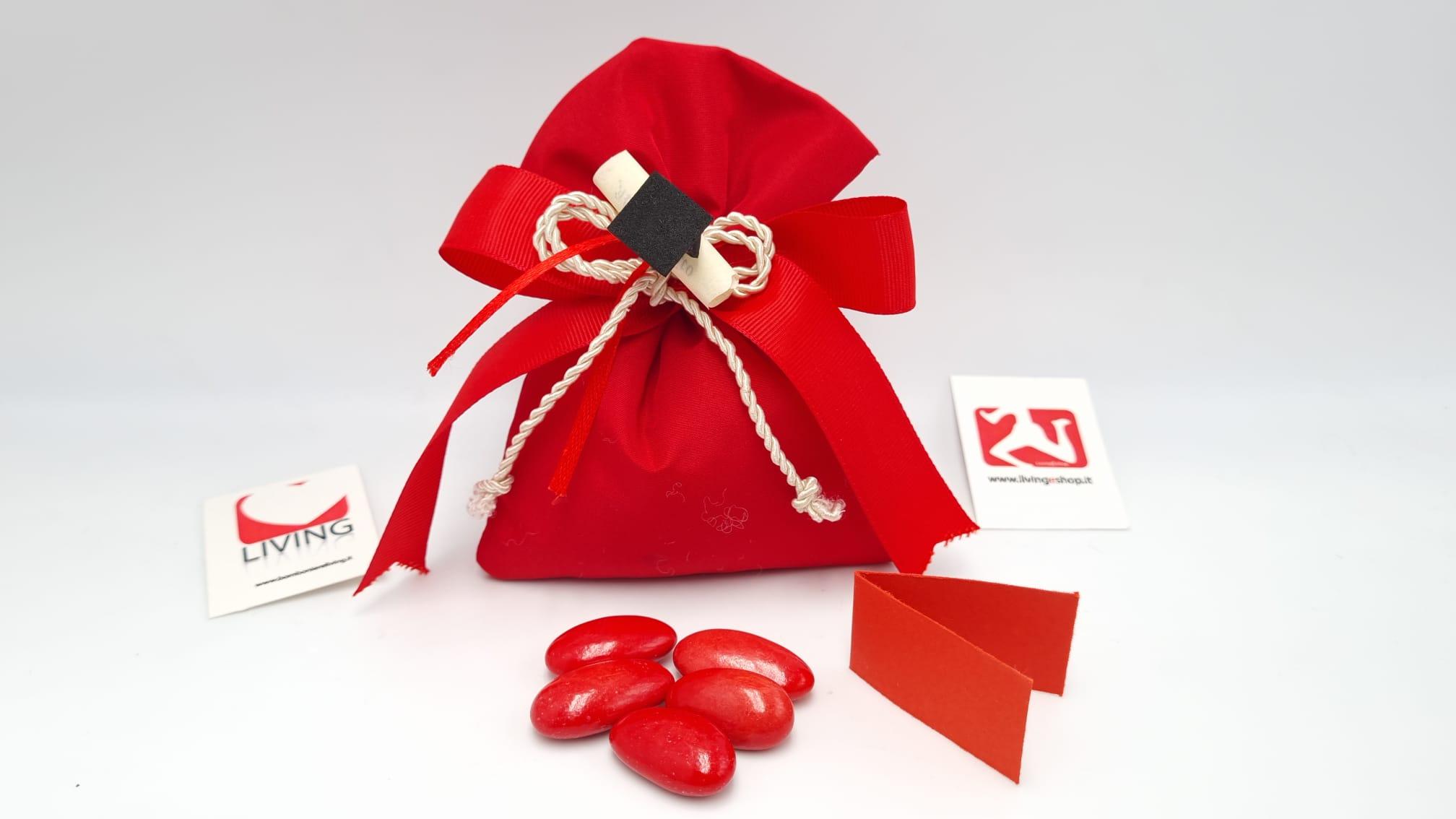 Sacchetto Laurea portaconfetti con o tessuto taffetà rosso