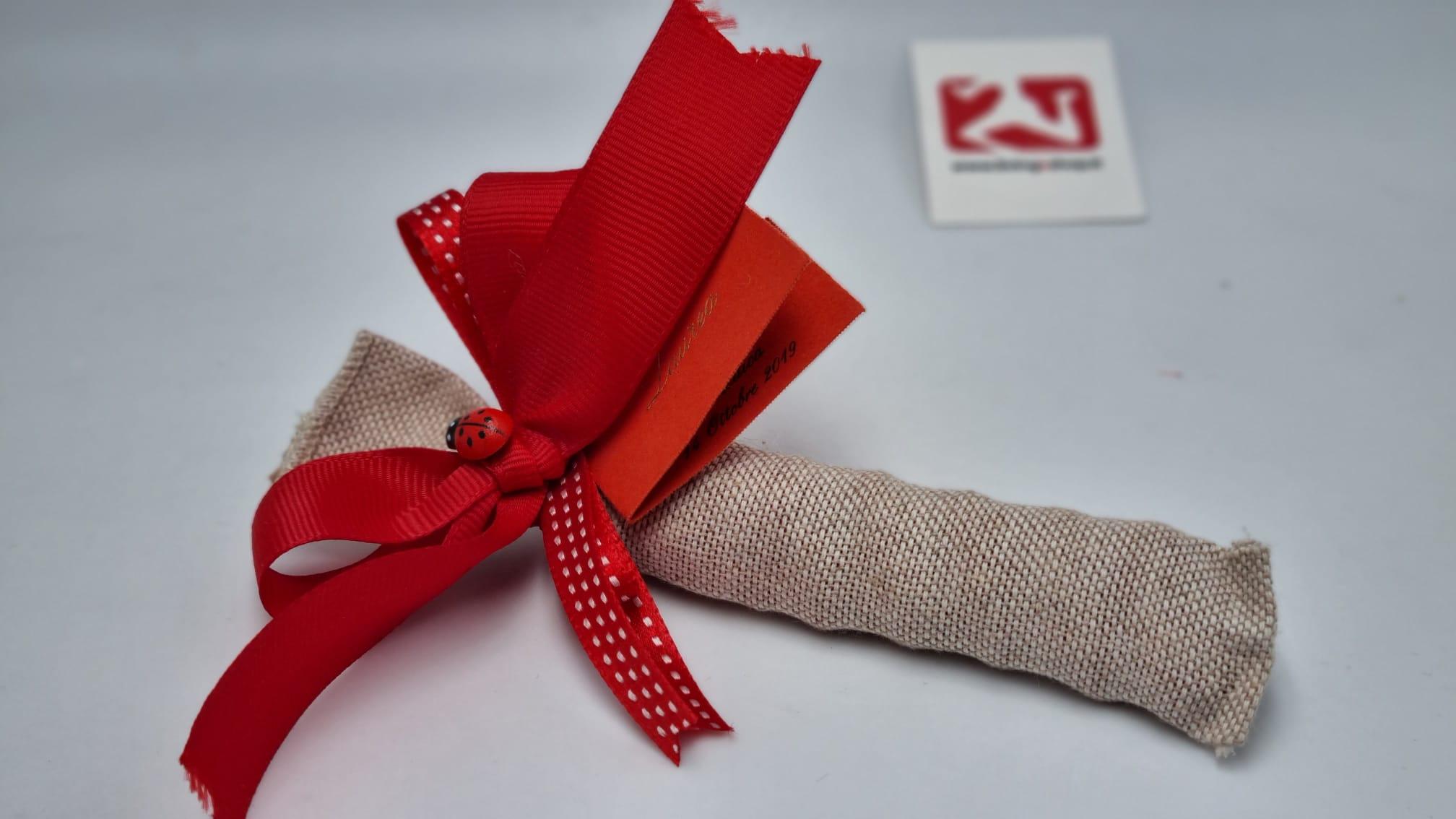 Sacchetto Laurea portaconfetti in tessuto grezzo