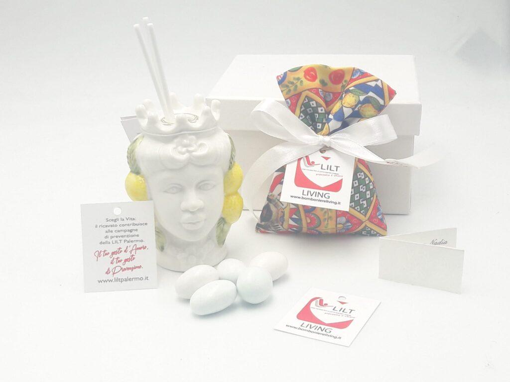 bomboniera profumatore testa di moro solidale lilt con sacchetto portaconfetti con decorazioni maioliche