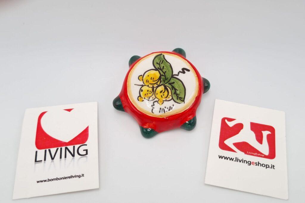 Bomboniera Tamburello Siciliano con magnete in ceramica di Caltagirone decorato con limoni