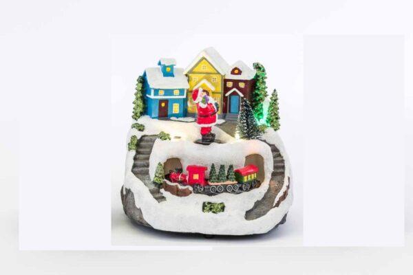 Paesaggio natalizio in resin acon soggetti in movimento e luce aled