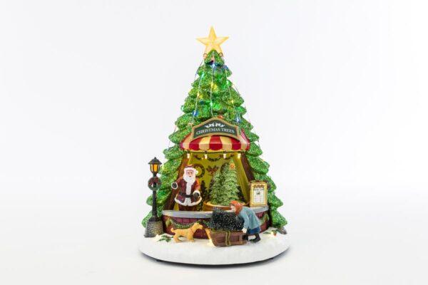Bottega natalizia con soggetti in movimento luce e musica