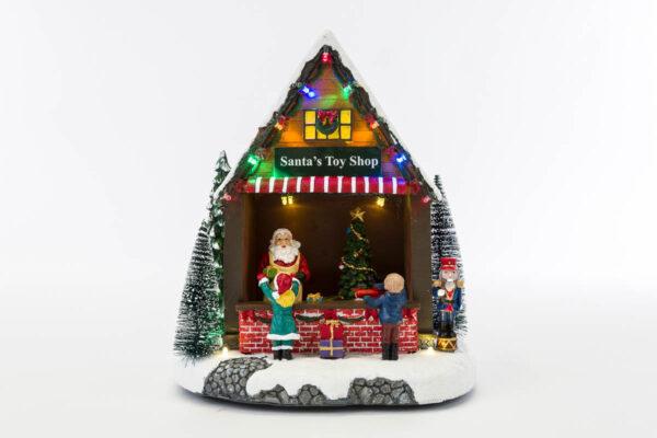 Bottega Babbo Natale con soggetti in movimento luci e musica