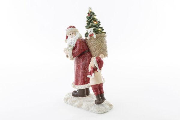 Babbo Natale con cesta che si illumina con luce a led