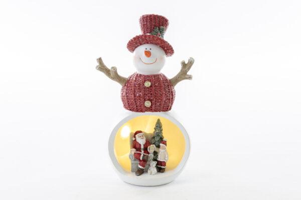 Pupazzo di neve con Babbo Natale con luce a led