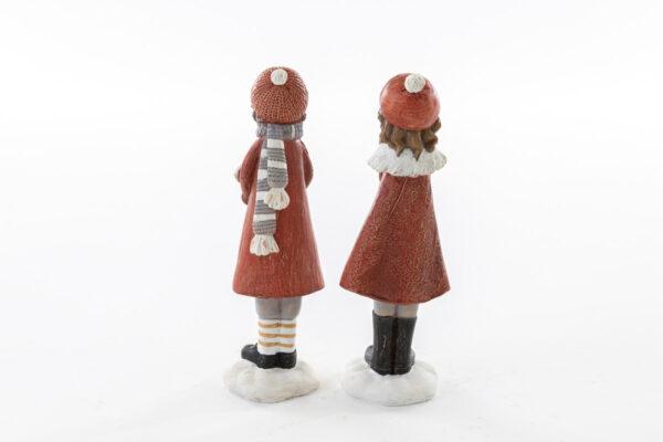 Coppia bimbi in resina con pacchi natalizi
