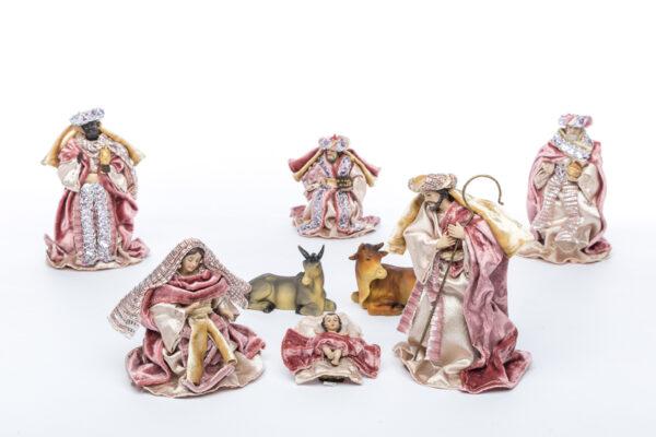 Natività set da 8 pezzi in resina con vestito in tessuto