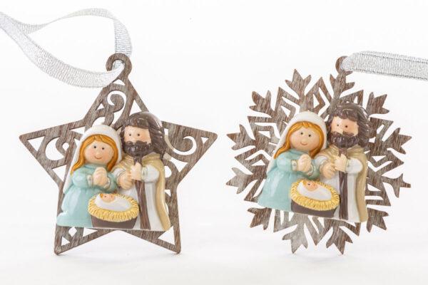 Appendino Sacra Famiglia in legno e resina