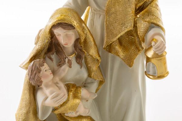Natività in resina con vestiti avorio e oro