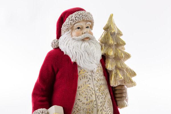 Babbo Natale in resina con vestito velluto rosso