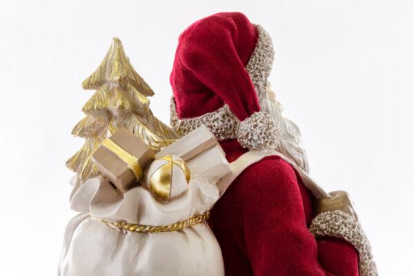 Babbo Natale in resina con vestito in velluto rosso