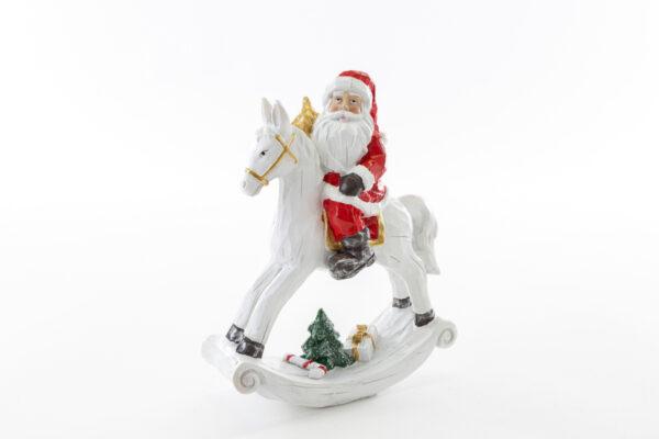 Babbo Natale su cavallo a dondolo in resina