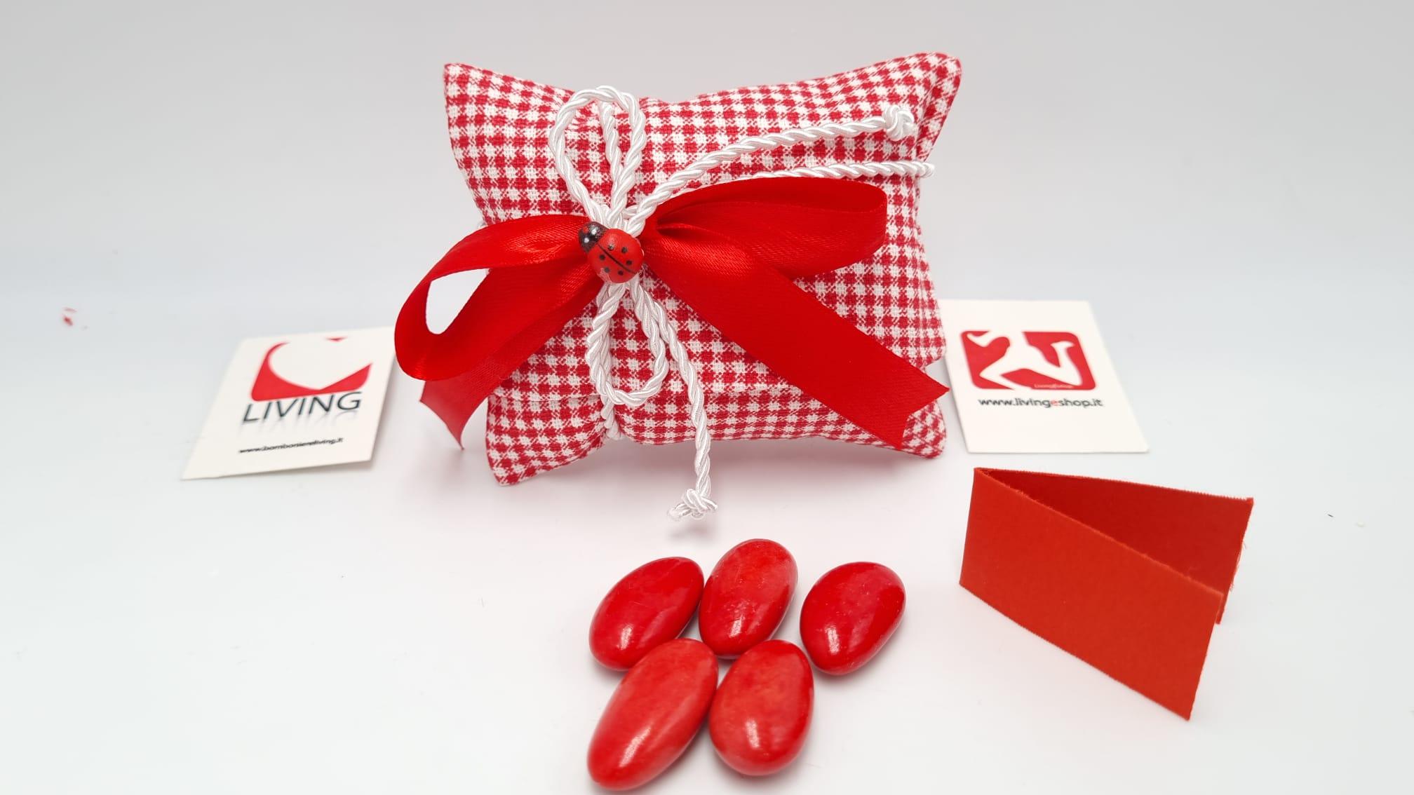 Sacchetto Laurea in tessuto quadri rosso
