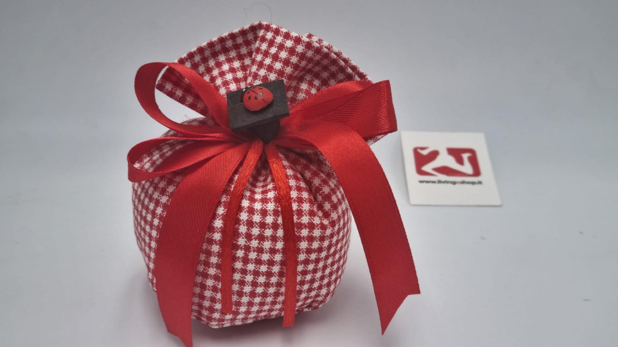 sacchetto Laurea tessuto quadri bianchi e rossi
